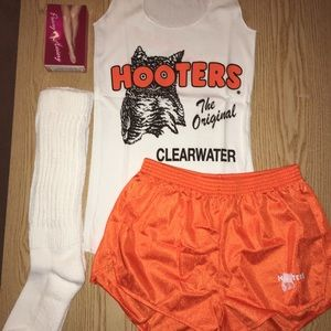 Hooters Girl shorts tank hose XL socks XS/XXXS